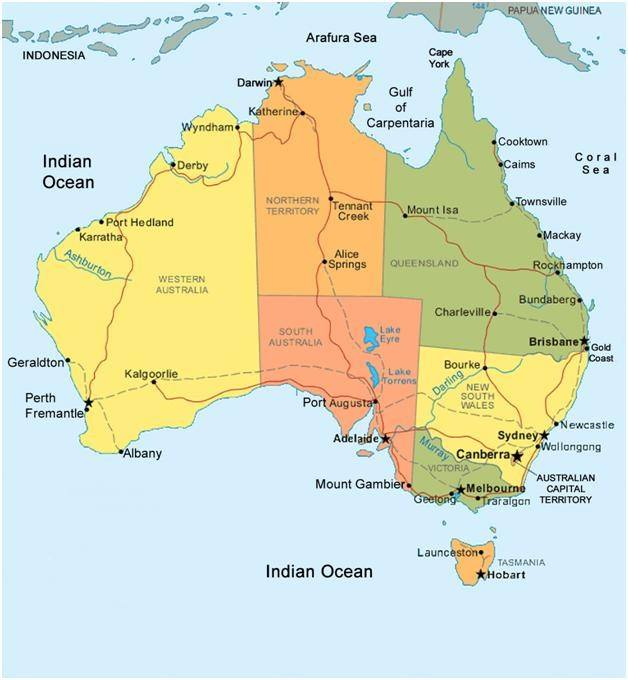 Map Of Australia And Tasmania.Australia Map